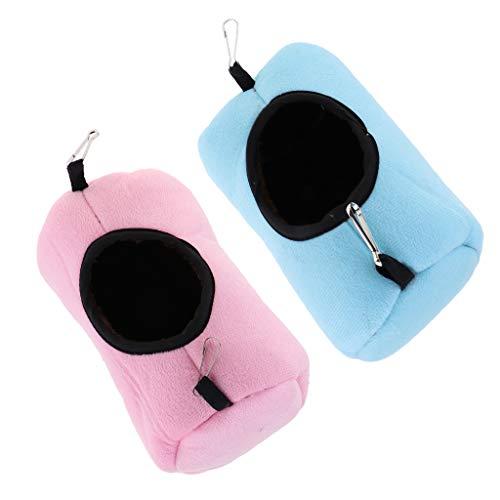 FLAMEER 2 Stück Hamster Hängematte Tunnel Schaukel Spielzeug für Kleintier Ratten Meerschweinchen Chinchilla Eichhörnchen Frettchen - rosa und blau