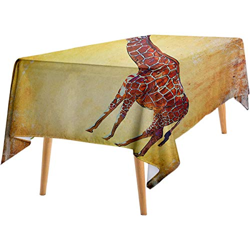 LanQiao Giraffe Oil-Resistant Tablecloth Vintage Style Illustration Watercolor African Animal Wildlife Safari Zoo Retro Art Home Outdoor Rectangular Tablecloth 50'x80' Multicolor