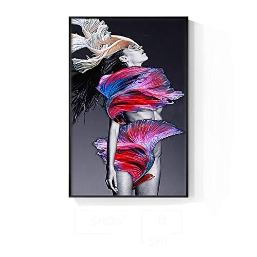 GQKLSA Decorazioni Moderne su Tela Pittura Poster Stampa Immagini su pareti per Soggiorno Camera da Letto Entranc Donne Sexy 30x45cm