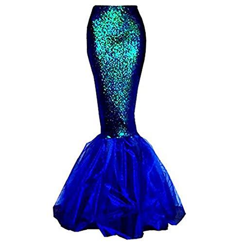 Damen Meerjungfrau Kostüm Rock Halloween Cosplay Phantasie Pailletten Long Tail Kleid mit asymmetrischen Mesh-Panel (Blau, M)