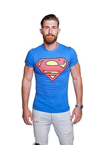 Course Herren Superman T-Shirt Baumwolle Comics Hero Held Superheld Rundhals Sommer XXL Blau