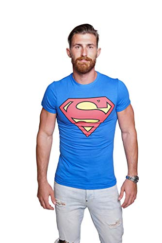 Course Herren Superman T-Shirt Baumwolle Comics Hero Held Superheld Rundhals Sommer L Blau