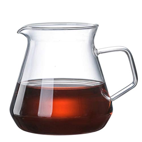 Jarra de agua de cristal con asa, jarra de té de cristal, jarra, tetera y jarra para café, zumo, agua helada y té de flores adecuado para tu nevera y cafetera (20 oz) (color: 600 ml)
