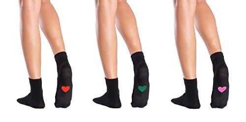 Symbolsocks 3 Paar Socken schwarz mit Motiv, Damen/Herren, 37-39, Herzen #1