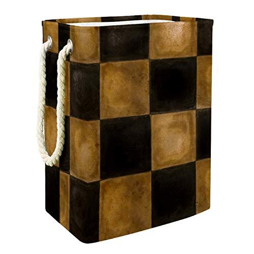 VFSS Cesta de la compra grande para la colada, cesta para la colada, bolsa de ropa, cubo de lavado marrón y negro cuadrado