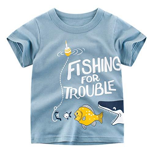 Baywell Baywell Kinder Baby Jungen Mädchen T-Shirt Sommer Baumwolle Cartoon Brief Muster Kleinkind T-Shirt Tops Bluse Kurzarm Tee T-Shirts