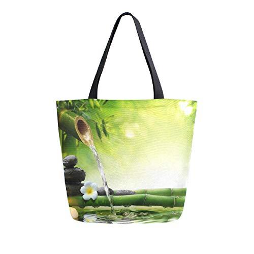 RXYY - Bolsa de lona de bambú con piedras chinas, resistente, grande, informal, para mujer, bolsa de hombro, reutilizable, para compras al aire libre, viajes