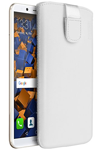 mumbi Echt Ledertasche kompatibel mit Huawei P9 Plus Hülle Leder Tasche Case Wallet, weiss