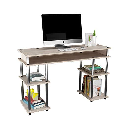 DlandHome Escritorio de Oficina Simple con Estantes Mesa de computadora Estudio 120 * 40 CM Mesa de Escritura Fácil Montaje para Hogar/Oficina Roble