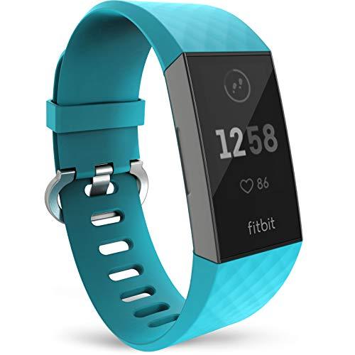 Yousave Accessories Compatibile Cinturino per Fitbit Charge3 / Charge4, Cinturino Sportivo Compatibile per Il Fitbit Charge 3 / Fitbit Charge 4 - Piccolo - Ciano