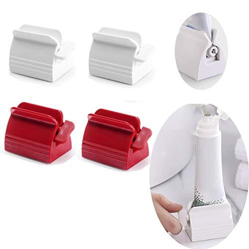 4 piezas de dispensador pasta dientes, exprimidor rotativo de pasta de dientes para baño (blanco + rojo)