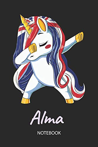 Alma - Notebook: Blank Lined Personalized & Customized Name Great Britain Union Jack Flag Hair Dabbing Unicorn Notebook / Journal for Girls & Women. ... Birthday, Christmas & Name Day Gift for Her.