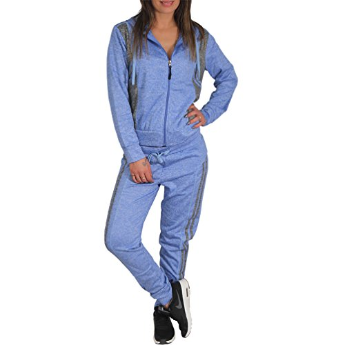 Candygirls Haus Jogging Anzug Sport Hose Jacke Kapuze Pfeffer und Salz Muster DP1607 (34 XS, Blau)