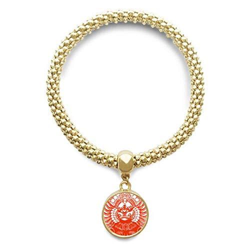 DIYthinker Damen Peking-Oper Rot Gongtongguan Papier-Schnitt goldenen Armband Laufende Anhänger Schmuck-Kette