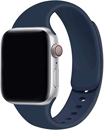 VIKATech Compatible Cinturino per Apple Watch Cinturino 44mm 42mm 40mm 38mm, Cinturino Morbido di Ricambio in Silicone per iWatch Series 6/5/4/3/2/1 (42mm/44mm M/L, Midnightblue)