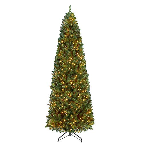 YAHEETECH 7.5ft Pre-lit Artificial Kingswood Fir Pencil Slim Skinny Corner Hinged Christmas Tree with 350 Incandescent Warm White Lights Prelighted Xmas Tree with Foldable Stand