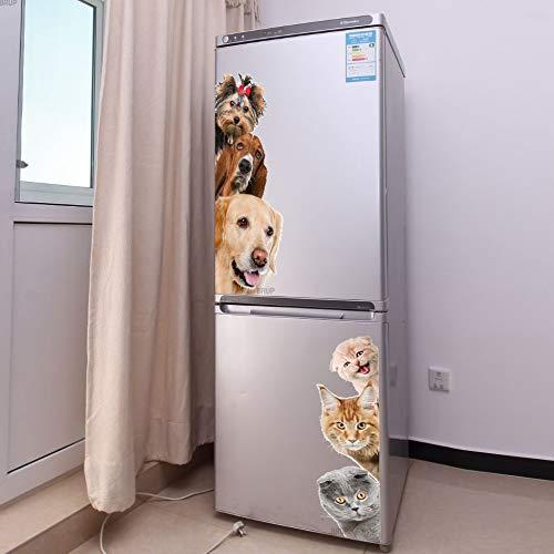 BLOUR Perros Gatos Etiqueta de la Pared 3D Puerta Divertida Ventana Armario Decoraciones para Nevera para habitación de niños Decoración para el hogar Dibujos Animados Animal Art Vinilo Calcomanía