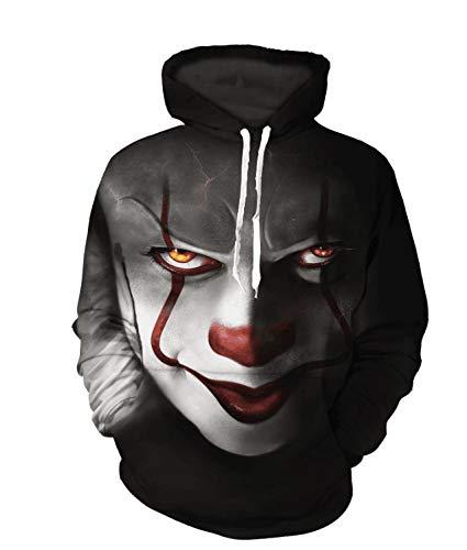 Xmas Männer Und Frauen Liebhaber Verlieren Big Size Street-Style Clown-Muster Kapuzenpullover-Hoodies Pullovers Sweaters Baseball-Kleidung,XXXL