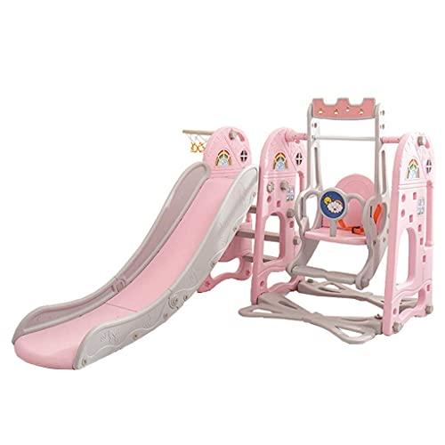 ZFAYFMA Juego de toboganes para niños con canasta de baloncesto, fácil de instalar en el patio trasero rosa