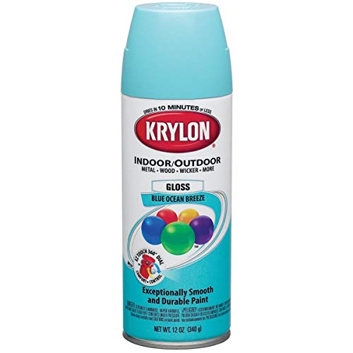 Krylon Colormaster Indoor/Outdoor Aerosol Paint 12oz-Gloss Blue Ocean Breeze