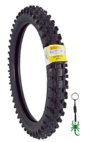 Pirelli Scorpion MX32 Mid Soft Dirt Bike Front/Rear Motocross Tube Type Tire with Authentic Pirelli Key Chain (80/100-21 Front)