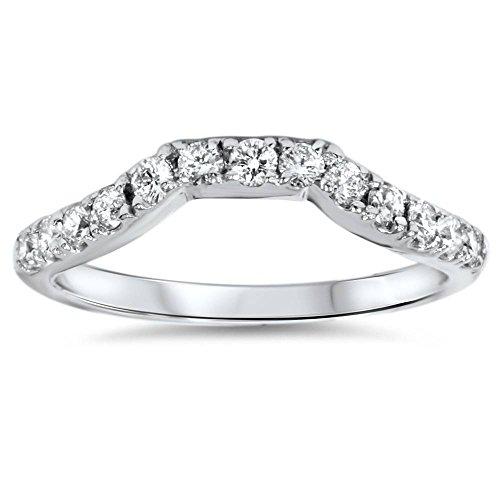 14K White Gold 3/8ct Diamond Wedding Anniversary Curved Guard Ring - Size 7 (0.375 Ct Diamond)