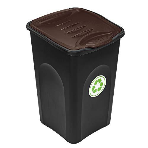 PAFEN Mülleimer 50l für Recycling - Mülltonne mit farbige Klappdeckel - Abfalleimer Mülltonne (Braun)
