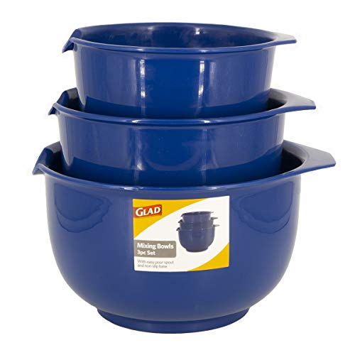 Glad Mixing Bowls with Pour Spout, Set of 3 | Nesting Design Saves Space | Non-Slip, BPA Free, Dishwasher Safe | Kitchen Cooking and Baking Supplies, Blue