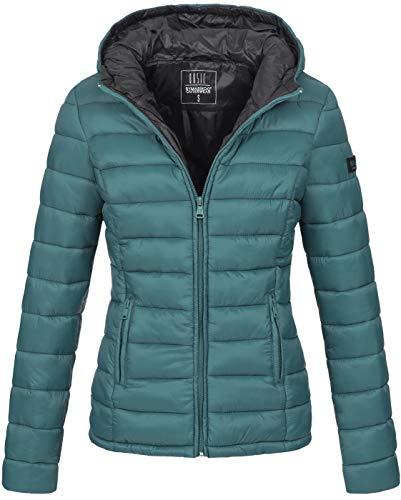 Marikoo Damen Jacke Steppjacke Herbst Winter Übergangsjacke gesteppt B651 [B651-Luc-Ocean-Green-Gr.XS]