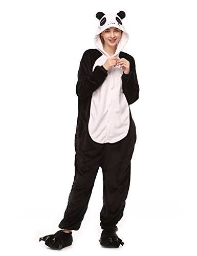 SwissWell Unisex Erwachsene Onesie Kostüm Jumpsuit Schlafanzug,Hausanzug,Jogginganzug,Tier Cosplay kostüm,Schlafanzug Hoodie Onesie Nachtwäsche Pyjamas Tieroutfit mit Kapuze Panda XL