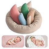 6 Pcs Newborn Photography Props Baby Posing Aid Pillow Beans Bag,(1pc Donut +5 pcs Posing Pillow) 0-6 Months Baby (Color)