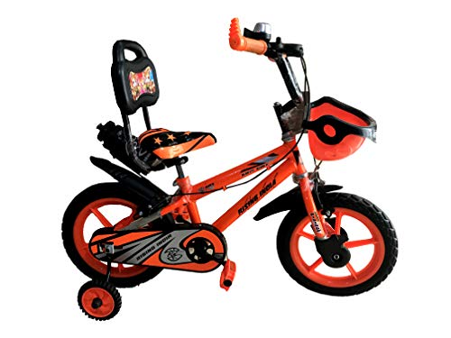"""Rising India 14"""" Sports Kids Bicycle for 3-5 Years with Full Chain Cover and Bottle (Neon Orange) -Semi Assembled"""