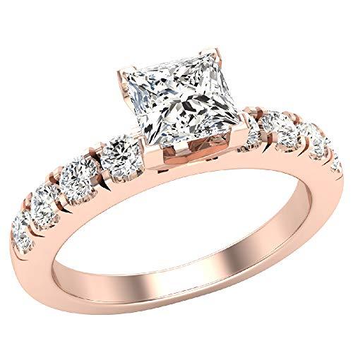 Glitz Design Mujer Niños Hombre Unisex oro 14 quilates (585) oro rosa 14ct talla princesa round-brilliant-shape H-I Diamond