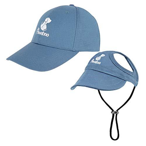 Pawaboo Gorra Padre-Niño para Perros, Gorrito de Béisbol para Animal Sombreros Protección de Sol para los Oídos y Correa de Barbilla Ajustable para Familia de Mascotas, Tomaño L - Azul