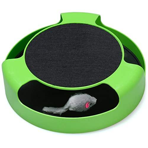 Nsdsb Juguetes Interactivos para Gatos Almohadilla para Rascar Catch Mouses Rascador para Gatos Juguete con Hierba Gatera Verde + Negro25 * 25 * 6.5Cm