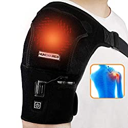 NUNEWARES Heated Shoulder Wrap Brace,3 Temperature Setting Infrared Pad Strap with 3000mAh Lipo Battery,Hot Cold Therapy for Muscle Pain Relief Frozen Shoulder