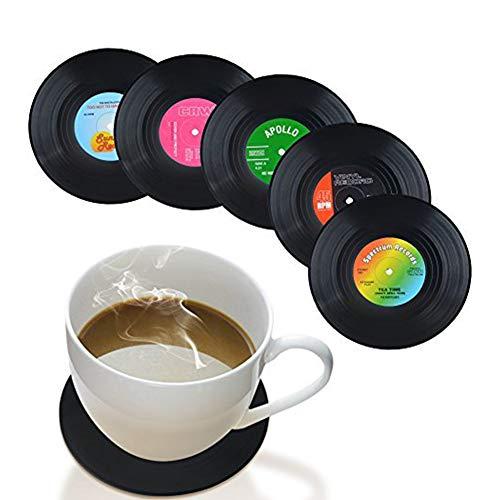 Romote Untersetzer Set mit 6 Musik-Untersetzern – Kunst Auto Bar Tee Kaffee Tisch Becher Bier Flasche Getränke saugfähig für Weinglas Gummi schwarz Tassenmatte – Größe L 10,7 cm