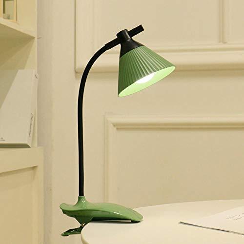 Lámpara de mesa Lámpara de lectura LED USB Recargable Plegable Flexo Clamp Light Dormitorio Lámpara de cama verde-7x13.5x40cm