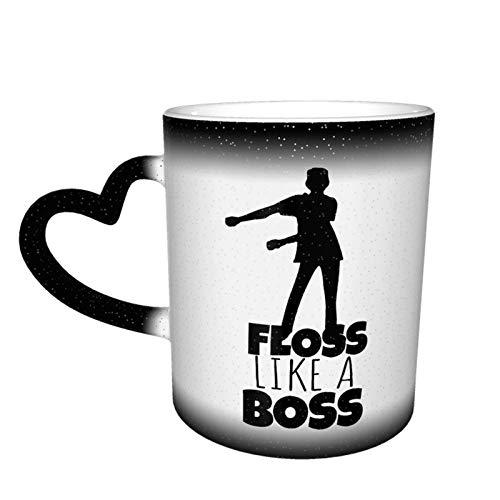 Floss Like A Boss Taza que cambia de color Gran diseño de taza de café Taza de cerámica sensible al calor, 11oz-9K