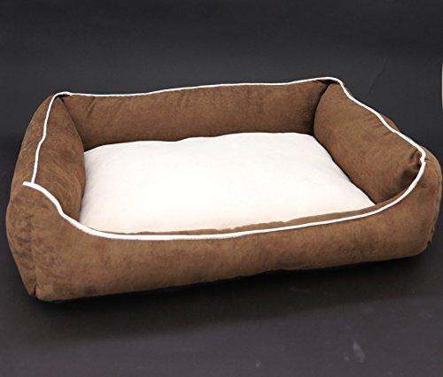 Heimtexland knuffelig hondenbed in fluweelzachte suède look 60 x 45 x 17 cm wasbaar hondenmand hondenkussen Typ572, 60 x 45 cm, bruin