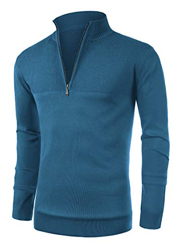 NITAGUT Mens Slim Fit Zip Up Mock Neck Polo Sweater Casual Long Sleeve Sweater and Pullover Sweaters with Ribbing Edge(Blue-3XL)