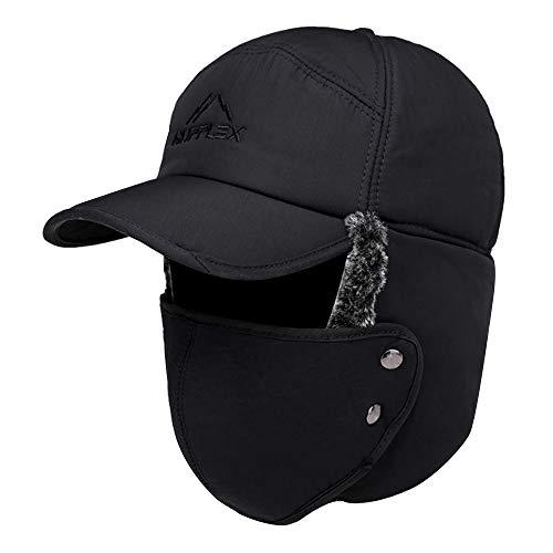 Van Caro Men's Faux Fur Earflap Winter Hat Warm Baseball Cap Hunting Hat, Black