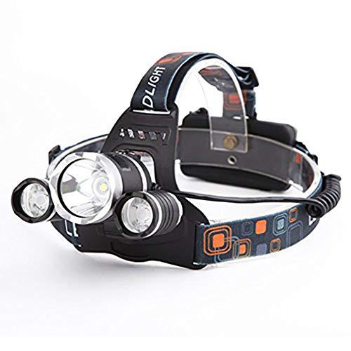 EUROXANTY®- Linterna Frontal Led Recargable de Alta Potencia 9000 Lúmenes   con 4 Tipos de Luz Ideal para Camping Pesca Ciclismo Carrera Caza y Más Deportes