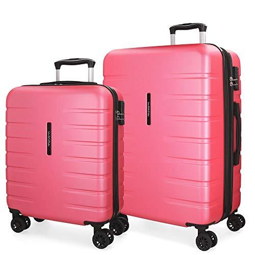 Movom Turbo Juego de maletas Rosa 55/69 cms Rígida ABS Cierre combinación 117L 4 Ruedas dobles Equipaje de Mano