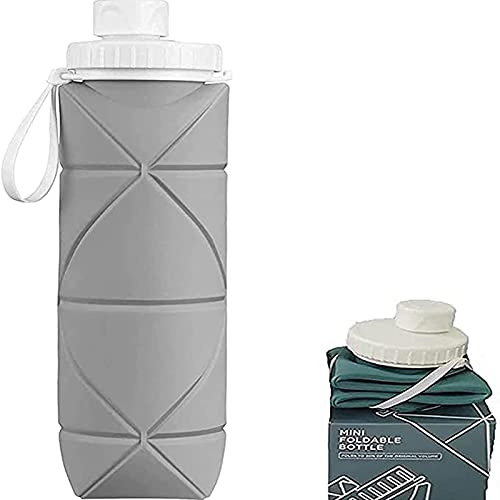 MRDUEWS Outdoor Camping Hiking Water Bottles,Sport Silicone Portable Foldable Water Bottle,Telescopic Water Cup,Silicone Collapsible Water Bottles,Sports Bottle Squeeze,for Gym,Hiking (Color : Gray)