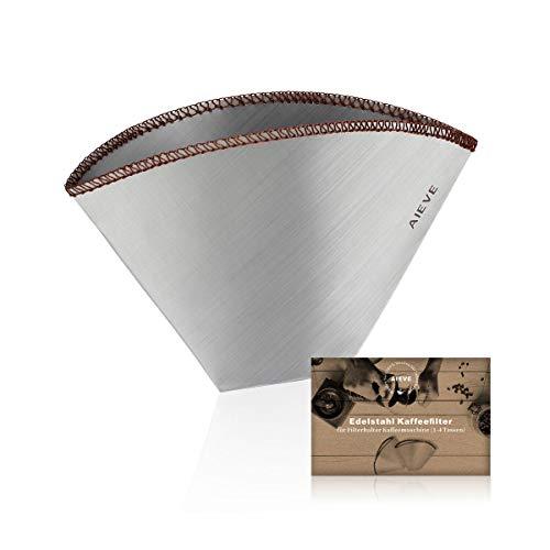 AIEVE Kaffeefilter Dauerfilter Permanentfilter Edelstahl Kaffee Filter Filtergröße 4 für Filterhalter Kaffeemaschine Pour Over Kaffee(1-4 Tassen)