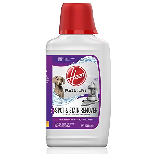 Hoover Carpet Paws & Claws Premixed Spot Machine Cleaning Shampoo, Pet Stain Solution and Odor Remover, 32oz Cleaner Formula, AH30940, White