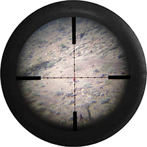 BI HomeDecor Spare Tire Cover,Scharfschützenansicht Durch Zielfernrohr Militärische Jagd Schießen Langlauf Stilvolle Radreifenschutz Für Fahrzeuge,70-75cm