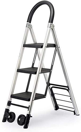 Escalera telescópica, mobiliario plegable multipropósito escalera vigas conductores espesantes hechas de aleación de aluminio conductor interno de 3/4 pasos de escaleras (tamaño, 120 cm).