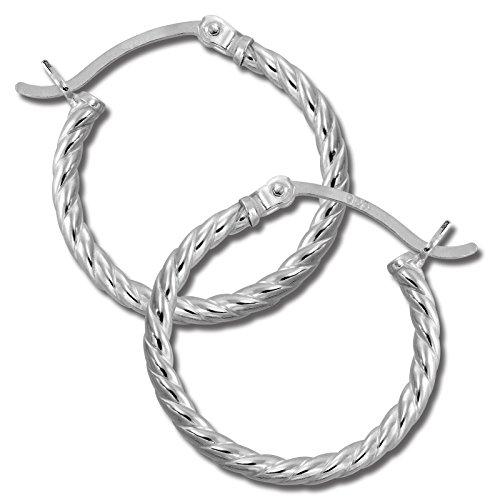 SilberDream Ohrringe 20mm Damen-Schmuck 925er Silber Creolen gedreht SDO0062J